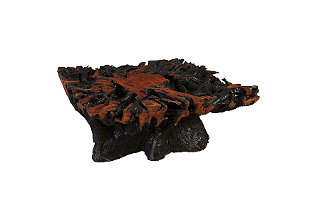 Lychee Wood Coffee Table Square, Burnt Edge