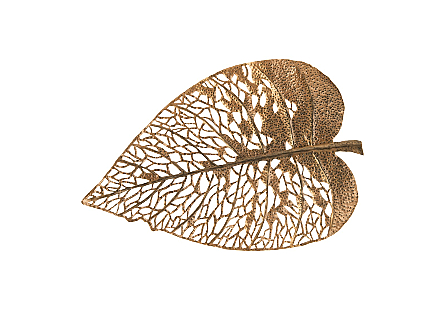 front view of Phillips Collection Medium Birch Leaf Wall Art hand-cut from metal sheets and dressed in a copper patina with a satin finish