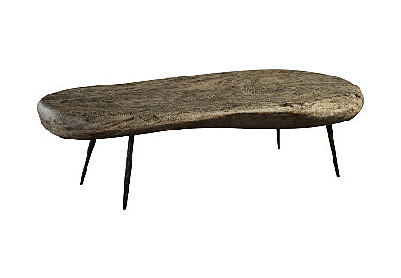 Skipping Stone Coffee Table Gray Stone, Forged Legs