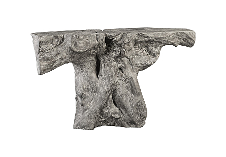 Chamcha Wood Console Table Grey Stone