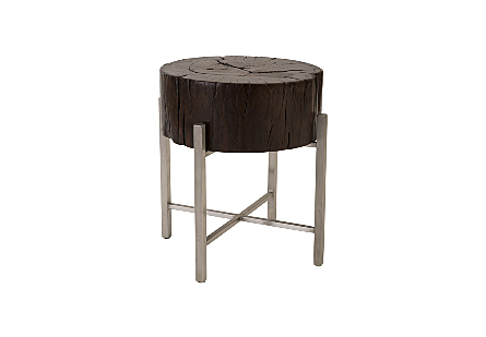 Chamcha Wood Side Table Stainless Steel X Cross Leg