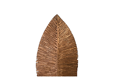 Carved Leaf on Stand, Copper Leaf SM