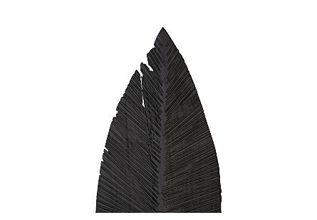 Carved Leaf on Stand Burnt, LG