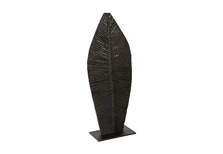 Carved Leaf on Stand Burnt, SM