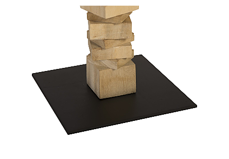 Stacked Wood Floor Sculptures Bleached, Set of 3