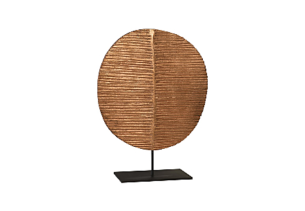 Carved Round Leaf on Metal Stand LG