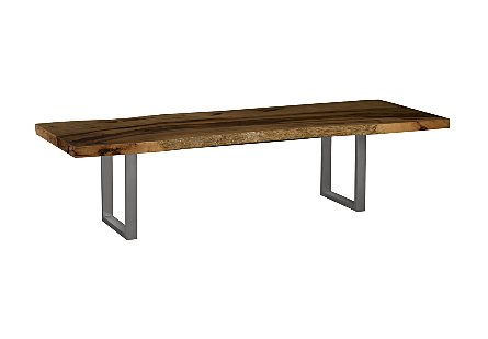 Mango Wood Dining Table Brushed Stainless Steel Legs