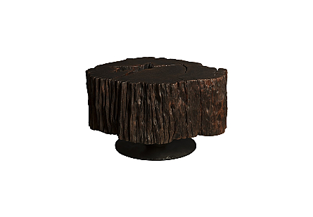 Black Wood Coffee Table Round Metal Leg