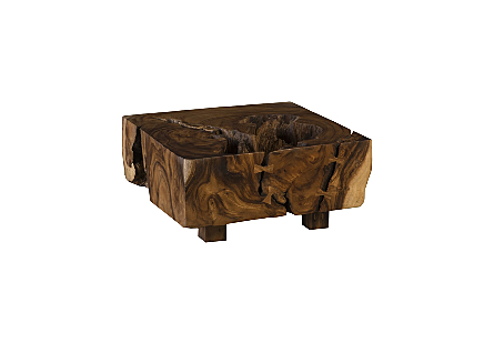 Chamcha Wood Thick Coffee Table on Block Legs Square