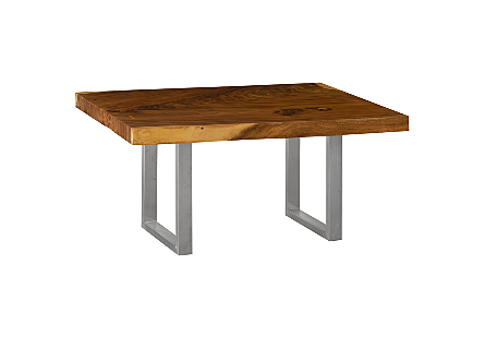 Chamcha Wood Dining Table Brushed Stainless Steel Legs