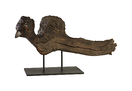 Burled Wood Sculpture Bird