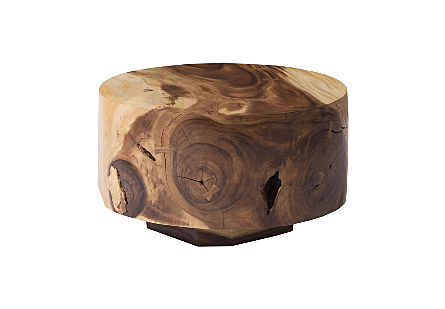 Chamcha Wood Thick Low Coffee Table Round, Natural