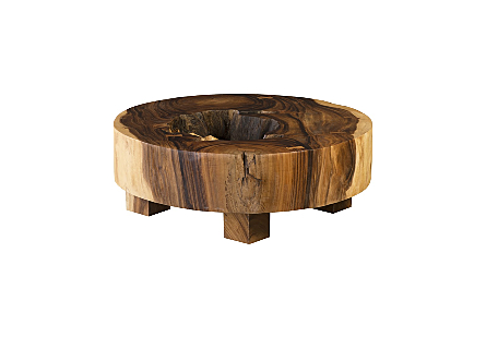 Chamcha Wood Thick Coffee Table on Block Legs Round