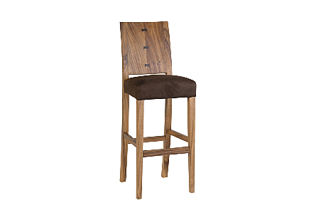 angled view of the Ophelia Natural Bar Stool by Phillips Collection with a textural woodgrain back made of reclaimed chamcha wood with an upholstered seat