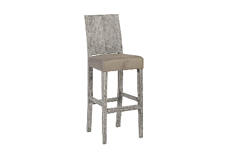 angled view of the Ophelia Gray Bar Stool by Phillips Collection with a textural woodgrain back made of reclaimed chamcha wood with an upholstered seat