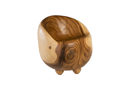 Ball Chair Small, Chamcha Wood, Natural, 3 Legs