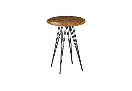 Chamcha Wood Bar Table Four Metal Legs