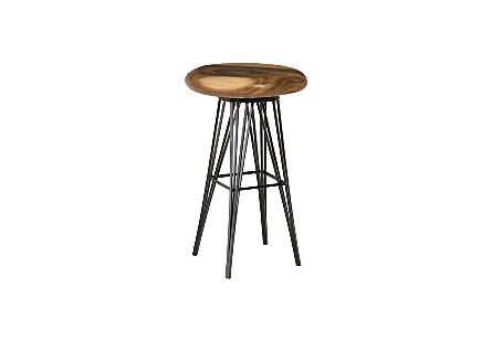 Smoothed Bar Stool on Black Metal Legs Swivel Seat, Chamcha Wood, Natural