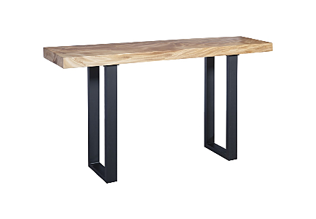 Chamcha Wood Console Table Metal U Legs, Matte, Black