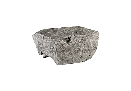 Chamcha Wood Thick Coffee Table Square, Grey Stone