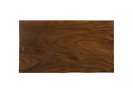 Live Edge Dining Table, Chamcha Wood Perfect Brown, Brushed Stainless Steel Legs