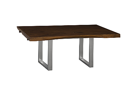 Origins Dining Table, Live Edge Perfect Brown, Brushed Stainless Steel Legs