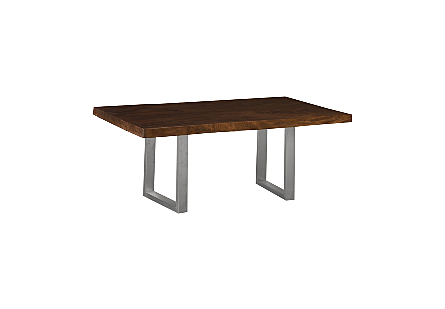 Live Edge Dining Table, Chamcha Wood Ebony, Brushed Stainless Steel Legs