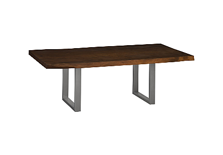 Live Edge Dining Table, Chamcha Wood Brushed Stainless Steel Legs, Perfect Brown