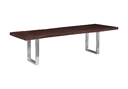 Origins Dining Table, Straight Edge Ebony, Brushed Stainless Steel Legs