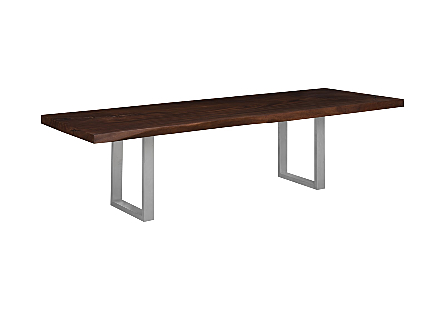 Origins Dining Table, Straight Edge Perfect Brown, Brushed Stainless Steel Legs