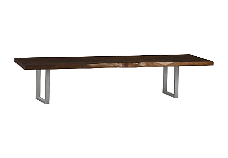 Chamcha Wood Dining Table Ebony, Brushed Stainless Steel Legs