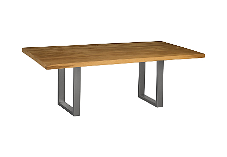 Live Edge Dining Table, Wood Metal U Legs