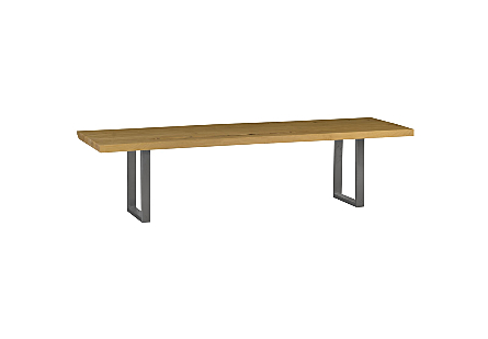 Indian Elm Wood Dining Table Metal U Legs