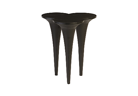 front view of the Marley Black Bar Table by Phillips Collection which is made of golf-tee shapes that give it a scalloped top and telescoping legs