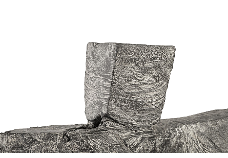 Tai Chi Kicking Sculpture on Pedestal Grey Stone/Black