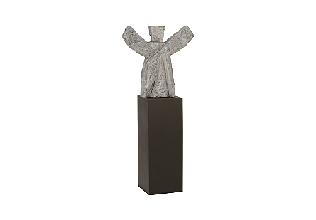 Tai Chi Winner Sculpture on Pedestal Grey Stone/Black