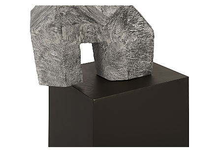Tai Chi Arm Up Sculpture on Pedestal Grey Stone Finish, Black