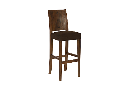 angled view of the Ophelia Brown Bar Stool by Phillips Collection with a textural woodgrain back made of reclaimed chamcha wood with an upholstered seat