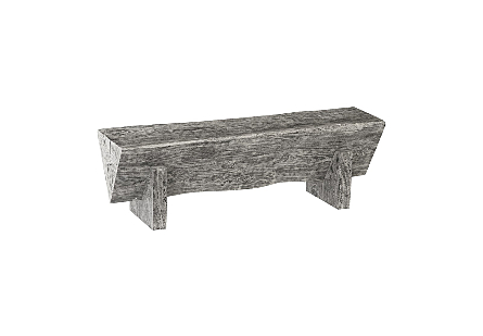 Chamcha Wood Triangle Bench Grey Stone