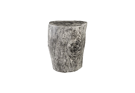 Chamcha Wood Stool Grey Stone Finish, Black