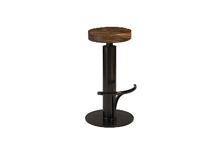 Black Iron Bar Stool, Swivel Seat Chamcha Wood, Natural
