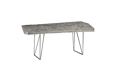 Chamcha Wood Angled Drawing Desk Grey Stone