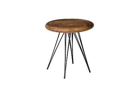 String Table on Black Metal Legs Chamcha Wood, Natural