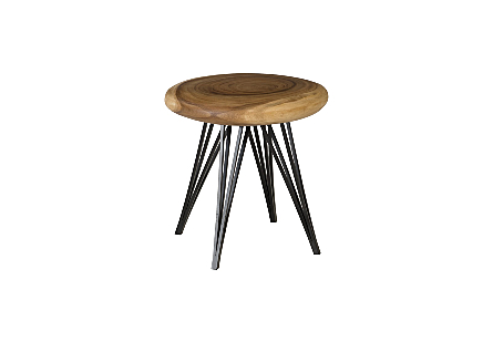 String Stool on Black Metal Legs Chamcha Wood, Natural