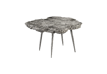 Wood Coffe Table Gray Stone, Forged Legs