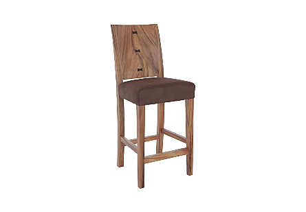 angled view of the Ophelia Natural Counter Stool by Phillips Collection with a textural woodgrain back of reclaimed chamcha wood and  an upholstered seat