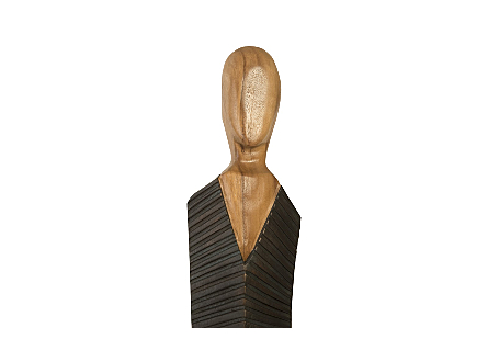 Vested Male Sculpture Large, Chamcha, Natural, Black, Copper