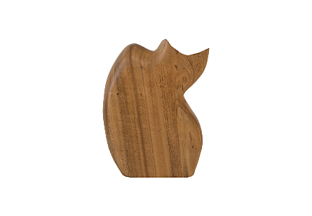 Nuzzled Cat Sculpture Chamcha Wood, Natural