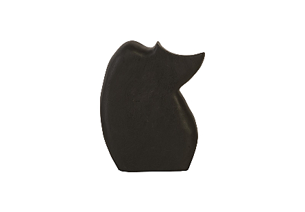 Nuzzled Cat Sculpture Chamcha Wood, Burnt Black