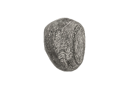 angled view of the Phillips Collection River Stone Extra-Small Gray Wall Tile a rock-shaped wall sculpture made of wood in a textural gray stone finish